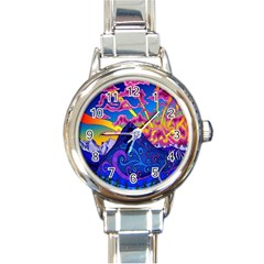 Psychedelic Colorful Lines Nature Mountain Trees Snowy Peak Moon Sun Rays Hill Road Artwork Stars Round Italian Charm Watch