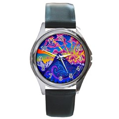 Psychedelic Colorful Lines Nature Mountain Trees Snowy Peak Moon Sun Rays Hill Road Artwork Stars Round Metal Watch