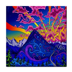 Psychedelic Colorful Lines Nature Mountain Trees Snowy Peak Moon Sun Rays Hill Road Artwork Stars Tile Coasters