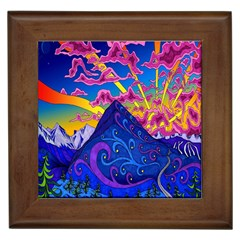 Psychedelic Colorful Lines Nature Mountain Trees Snowy Peak Moon Sun Rays Hill Road Artwork Stars Framed Tiles