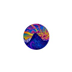 Psychedelic Colorful Lines Nature Mountain Trees Snowy Peak Moon Sun Rays Hill Road Artwork Stars 1  Mini Buttons