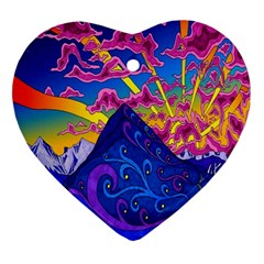 Psychedelic Colorful Lines Nature Mountain Trees Snowy Peak Moon Sun Rays Hill Road Artwork Stars Ornament (Heart)