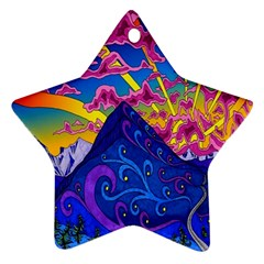 Psychedelic Colorful Lines Nature Mountain Trees Snowy Peak Moon Sun Rays Hill Road Artwork Stars Ornament (star)