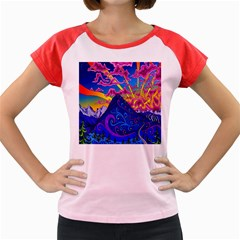 Psychedelic Colorful Lines Nature Mountain Trees Snowy Peak Moon Sun Rays Hill Road Artwork Stars Women s Cap Sleeve T-Shirt