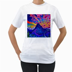 Psychedelic Colorful Lines Nature Mountain Trees Snowy Peak Moon Sun Rays Hill Road Artwork Stars Women s T-Shirt (White) (Two Sided)