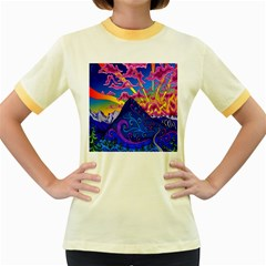 Psychedelic Colorful Lines Nature Mountain Trees Snowy Peak Moon Sun Rays Hill Road Artwork Stars Women s Fitted Ringer T Shirts