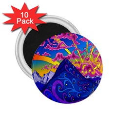 Psychedelic Colorful Lines Nature Mountain Trees Snowy Peak Moon Sun Rays Hill Road Artwork Stars 2 25  Magnets (10 Pack)