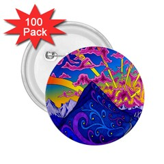 Psychedelic Colorful Lines Nature Mountain Trees Snowy Peak Moon Sun Rays Hill Road Artwork Stars 2.25  Buttons (100 pack)