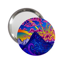 Psychedelic Colorful Lines Nature Mountain Trees Snowy Peak Moon Sun Rays Hill Road Artwork Stars 2 25  Handbag Mirrors