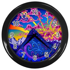 Psychedelic Colorful Lines Nature Mountain Trees Snowy Peak Moon Sun Rays Hill Road Artwork Stars Wall Clocks (Black)
