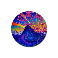 Psychedelic Colorful Lines Nature Mountain Trees Snowy Peak Moon Sun Rays Hill Road Artwork Stars Rubber Round Coaster (4 pack)