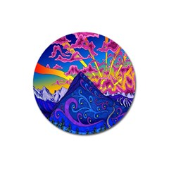 Psychedelic Colorful Lines Nature Mountain Trees Snowy Peak Moon Sun Rays Hill Road Artwork Stars Magnet 3  (Round)