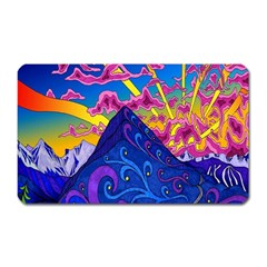 Psychedelic Colorful Lines Nature Mountain Trees Snowy Peak Moon Sun Rays Hill Road Artwork Stars Magnet (Rectangular)