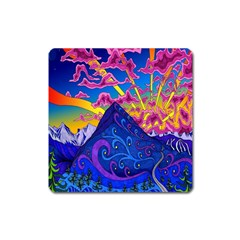 Psychedelic Colorful Lines Nature Mountain Trees Snowy Peak Moon Sun Rays Hill Road Artwork Stars Square Magnet