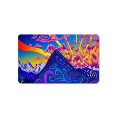 Psychedelic Colorful Lines Nature Mountain Trees Snowy Peak Moon Sun Rays Hill Road Artwork Stars Magnet (Name Card)