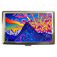 Psychedelic Colorful Lines Nature Mountain Trees Snowy Peak Moon Sun Rays Hill Road Artwork Stars Cigarette Money Cases