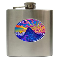 Psychedelic Colorful Lines Nature Mountain Trees Snowy Peak Moon Sun Rays Hill Road Artwork Stars Hip Flask (6 oz)