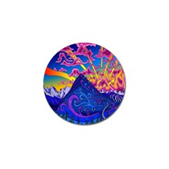 Psychedelic Colorful Lines Nature Mountain Trees Snowy Peak Moon Sun Rays Hill Road Artwork Stars Golf Ball Marker