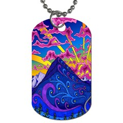 Psychedelic Colorful Lines Nature Mountain Trees Snowy Peak Moon Sun Rays Hill Road Artwork Stars Dog Tag (Two Sides)