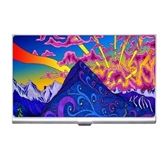 Psychedelic Colorful Lines Nature Mountain Trees Snowy Peak Moon Sun Rays Hill Road Artwork Stars Business Card Holders
