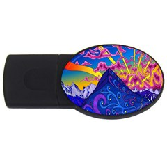 Psychedelic Colorful Lines Nature Mountain Trees Snowy Peak Moon Sun Rays Hill Road Artwork Stars USB Flash Drive Oval (1 GB)