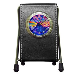 Psychedelic Colorful Lines Nature Mountain Trees Snowy Peak Moon Sun Rays Hill Road Artwork Stars Pen Holder Desk Clocks