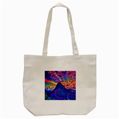 Psychedelic Colorful Lines Nature Mountain Trees Snowy Peak Moon Sun Rays Hill Road Artwork Stars Tote Bag (Cream)