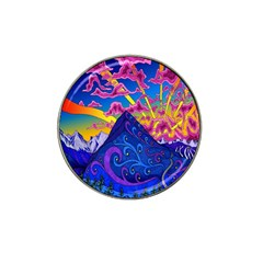 Psychedelic Colorful Lines Nature Mountain Trees Snowy Peak Moon Sun Rays Hill Road Artwork Stars Hat Clip Ball Marker