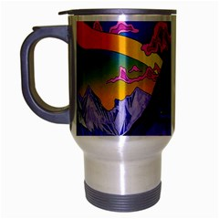 Psychedelic Colorful Lines Nature Mountain Trees Snowy Peak Moon Sun Rays Hill Road Artwork Stars Travel Mug (silver Gray)