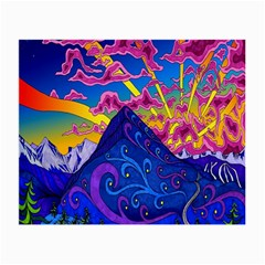 Psychedelic Colorful Lines Nature Mountain Trees Snowy Peak Moon Sun Rays Hill Road Artwork Stars Small Glasses Cloth