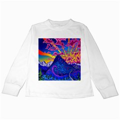 Psychedelic Colorful Lines Nature Mountain Trees Snowy Peak Moon Sun Rays Hill Road Artwork Stars Kids Long Sleeve T Shirts