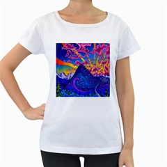Psychedelic Colorful Lines Nature Mountain Trees Snowy Peak Moon Sun Rays Hill Road Artwork Stars Women s Loose Fit T Shirt (white)