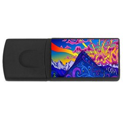 Psychedelic Colorful Lines Nature Mountain Trees Snowy Peak Moon Sun Rays Hill Road Artwork Stars USB Flash Drive Rectangular (4 GB)