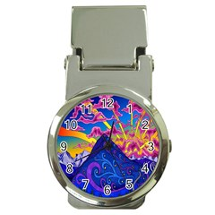 Psychedelic Colorful Lines Nature Mountain Trees Snowy Peak Moon Sun Rays Hill Road Artwork Stars Money Clip Watches