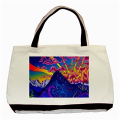 Psychedelic Colorful Lines Nature Mountain Trees Snowy Peak Moon Sun Rays Hill Road Artwork Stars Basic Tote Bag