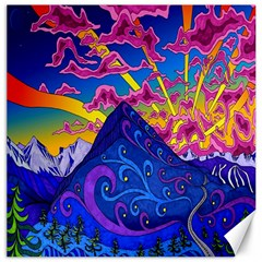 Psychedelic Colorful Lines Nature Mountain Trees Snowy Peak Moon Sun Rays Hill Road Artwork Stars Canvas 12  X 12