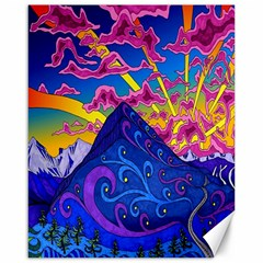 Psychedelic Colorful Lines Nature Mountain Trees Snowy Peak Moon Sun Rays Hill Road Artwork Stars Canvas 16  X 20