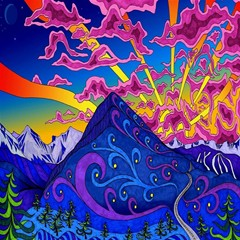 Psychedelic Colorful Lines Nature Mountain Trees Snowy Peak Moon Sun Rays Hill Road Artwork Stars Canvas 20  X 20