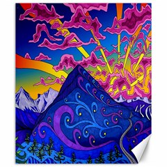 Psychedelic Colorful Lines Nature Mountain Trees Snowy Peak Moon Sun Rays Hill Road Artwork Stars Canvas 20  X 24