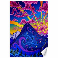 Psychedelic Colorful Lines Nature Mountain Trees Snowy Peak Moon Sun Rays Hill Road Artwork Stars Canvas 20  X 30