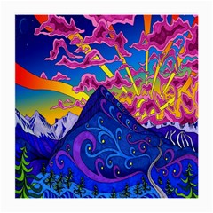 Psychedelic Colorful Lines Nature Mountain Trees Snowy Peak Moon Sun Rays Hill Road Artwork Stars Medium Glasses Cloth