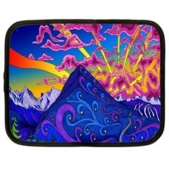 Psychedelic Colorful Lines Nature Mountain Trees Snowy Peak Moon Sun Rays Hill Road Artwork Stars Netbook Case (large)