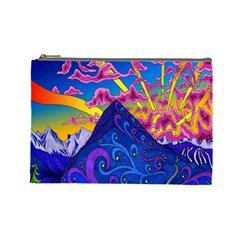 Psychedelic Colorful Lines Nature Mountain Trees Snowy Peak Moon Sun Rays Hill Road Artwork Stars Cosmetic Bag (large)