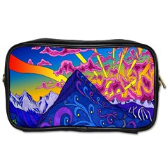 Psychedelic Colorful Lines Nature Mountain Trees Snowy Peak Moon Sun Rays Hill Road Artwork Stars Toiletries Bags 2 Side