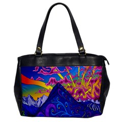 Psychedelic Colorful Lines Nature Mountain Trees Snowy Peak Moon Sun Rays Hill Road Artwork Stars Office Handbags