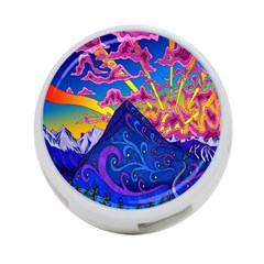 Psychedelic Colorful Lines Nature Mountain Trees Snowy Peak Moon Sun Rays Hill Road Artwork Stars 4 Port Usb Hub (one Side)