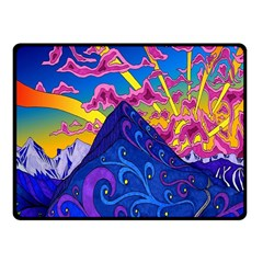 Psychedelic Colorful Lines Nature Mountain Trees Snowy Peak Moon Sun Rays Hill Road Artwork Stars Fleece Blanket (small)