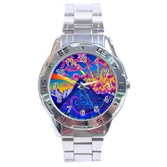 Psychedelic Colorful Lines Nature Mountain Trees Snowy Peak Moon Sun Rays Hill Road Artwork Stars Stainless Steel Analogue Watch