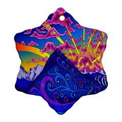 Psychedelic Colorful Lines Nature Mountain Trees Snowy Peak Moon Sun Rays Hill Road Artwork Stars Ornament (snowflake)