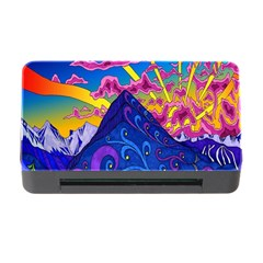 Psychedelic Colorful Lines Nature Mountain Trees Snowy Peak Moon Sun Rays Hill Road Artwork Stars Memory Card Reader With Cf